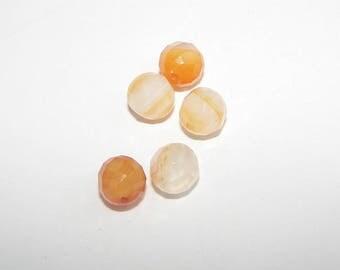 Set of 5 Agate stones natural faceted 08 mm diameter. Semi-precious stones.