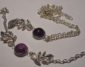 Silver set Amethyst cabochon