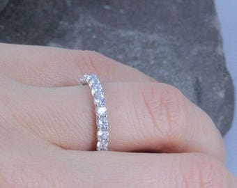 Stackable Eternity CZ .925 Sterling Silver Ring Wedding Women Size 3.5-12 Ss2136