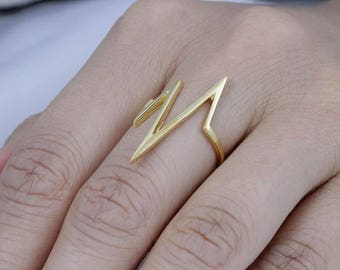 Zig Zag Yellow Gold Over Sterling Silver Fashion Ring Women's Size 6-9 Ss11922