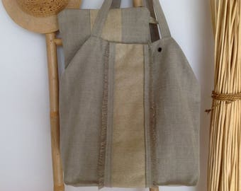 Large tote bag and its matching pouch color sand