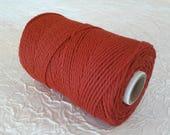 Cotton cord. Twisted cotton cord. Cotton rope. Corde macramé - Bobine de corde en coton 100% - 3 mm - rouge bismarck.