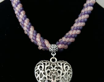 Beaded necklace purple and pink transparent heart pendant