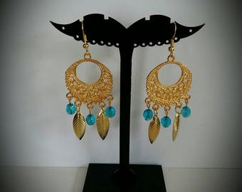 Blue and gold leaf earrings