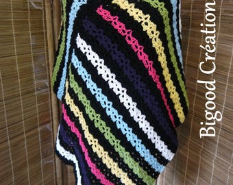 Crocheted poncho with multicolored stripes