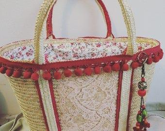Bohemian straw basket