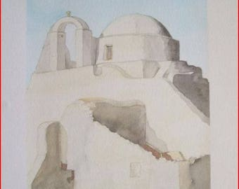 'Greece', watercolour on paper 300 mg monteval