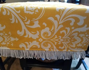 Yellow and White Table Runner/Dresser Scarf