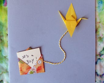 15cm - Origami crane and envelope - best wishes greeting card