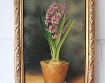 Painting flower hyacinth gold frame
