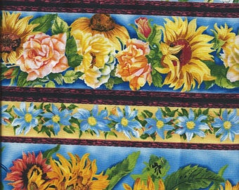 FLORAL fabric: Sunflowers and other blue flowers (coupon 55 x 30 cm) 100% Cotton Patch