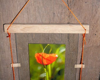 "Picture frame wood and glass ""pyrogue"""