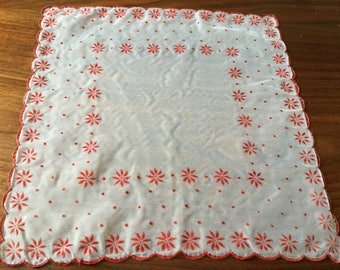 Vintage White Handkerchief with Red Accents