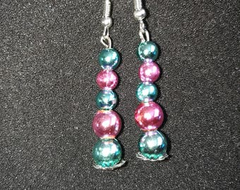 13. Pink and Turquoise Earrings