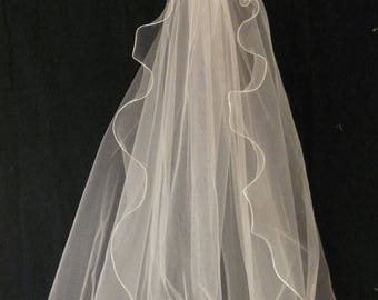 Wedding Veil, Semi Circle in Off White Fine Tulle with Lettuce Edging