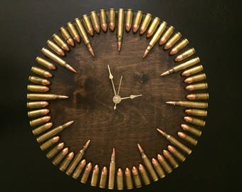 Bullet Clock with inert ammo.  Great gift for shooters, hunters, military, man cave, gun gift