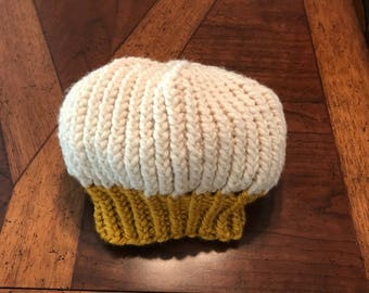 Cream and mustard beret, hand knit, one-of-a-kind, vintage style, warm