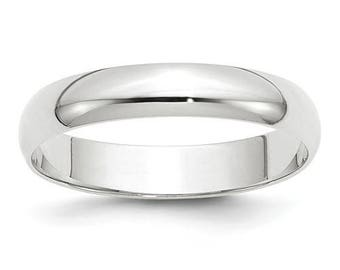 New 10K Solid White Gold 4mm Men's and Women's Wedding Band Ring Sizes 4-14. Solid 10k White Gold, Made in the U.S.A.