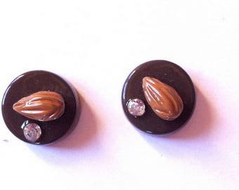 set of 2 chocolate almond cabochon resin rhinestone