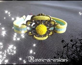 "filigree bracelet suede two-tone ""Sunflower"""