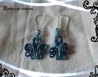 Blue aluminum Wire Earrings