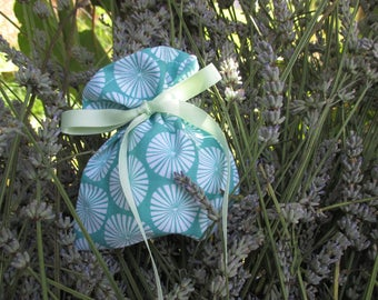 Green and white Lavender filled sachet bag