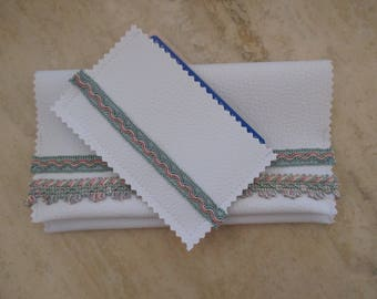 card in faux White leather and stripe green and pink, mother's day