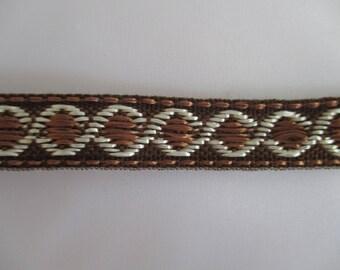 7 meters upholsterer Brown and cream braid trim 15mm