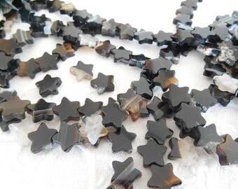 x 4 star 10 mm black agate beads.