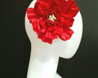 Oversized Leather Headpiece - Rouge