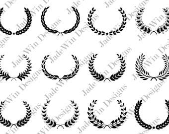 Sale! Laurel Compilation Clipart - Monogram Frame - Leaf Wreath - SVG + DXF + PNG Files for Silhouette Cameo or Cricut