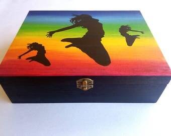 Wooden jewelry box, wedding gift, box to store jewelry, custom wooden jewelry box, wooden box motif dance