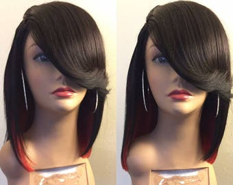 """12"""" 1B/Red Bob Wig 100% Human Hair Wig Side Bang Wig Cheap Wig sexy Wig"""