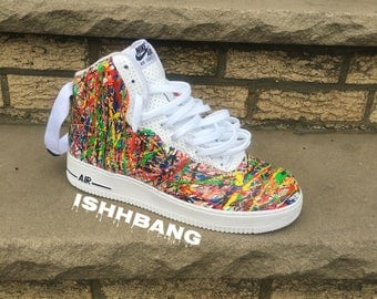 Custom Nike Air Force 1 High Splatter Confetti'd AF1s