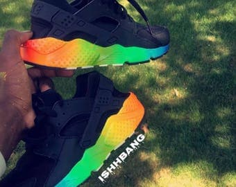 Custom Black Huarache Rainbow Bottom