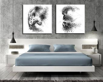 CANVAS ART Sensual Bedroom Wall Decor, His U0026 Hers Abstract Canvas Print,  Modern Erotic
