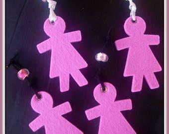 PROMOTION * pink set of 4 felt dolls
