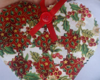 Christmas hearts * set of 5 hearts fabric woven