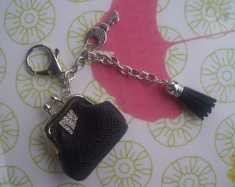 KEY fob * black and silver... chic