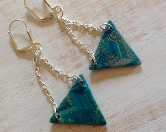 Mounted on silver chain polymer clay triangle earrings