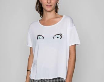 T-shirt women white eyes