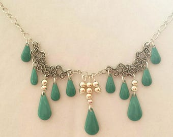 "Necklace silver tone and turquoise blue ""Little Princess"""