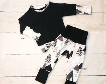 Mountains Sweater / Grow-with-me Pants / Bloomers / Baby Clothes / Kids Clothes / Baby Leggings / Baby Joggers / Baby Sweater / Toddler