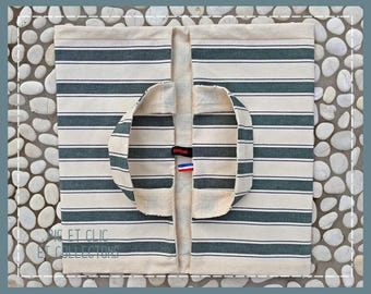 Green and white stripes reversible pie bag