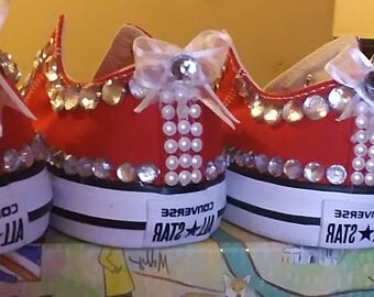 Girls blinged out sneakers