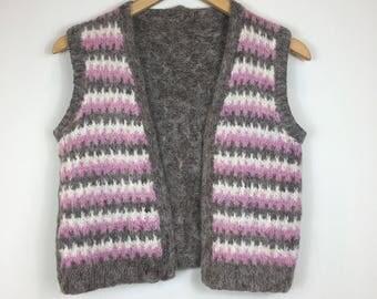 Vintage Waistcoat, Handmade Waistcoat, Hand-Knitted Waistcoat,Vintage Knitwear, Retro Waistcoat,Boho Waistcoat, 70s Style,Cropped Waistcoat