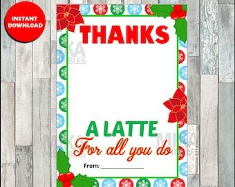 Sweet image with thanks a latte christmas printable