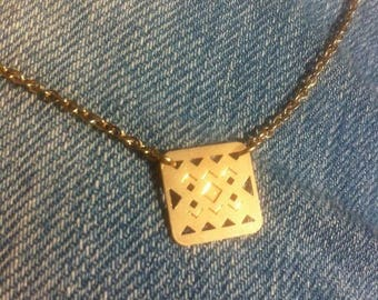 Choker - ikat - on chain or cord - silver or gold plated pendant