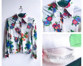 70's Vintage    Blouse    Women's Shirt    70s Collar    Floral Pattern    Button Up Shirt    Mod Shirt    Size S-M