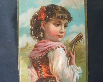 Double-Sided Victorian Lithograph Card, Girl & Flowers.